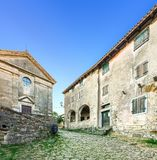 Hum - the fortified city in Croatia. In the central part of Istria, in Buzet`s community stock images