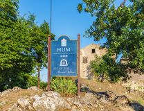 Hum - the fortified city in Croatia. In the central part of Istria, in Buzet`s community stock photography