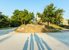 Hum - the fortified city in Croatia. In the central part of Istria, in Buzet`s community royalty free stock image