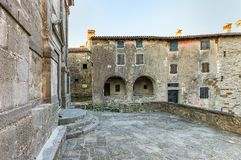 Hum - the fortified city in Croatia. In the central part of Istria, in Buzet`s community royalty free stock images
