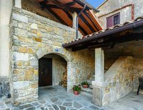 Hum - the fortified city in Croatia. In the central part of Istria, in Buzet`s community royalty free stock photo