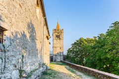 Hum - the fortified city in Croatia. In the central part of Istria, in Buzet`s community royalty free stock photography
