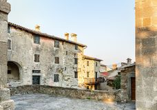 Hum - the fortified city in Croatia. In the central part of Istria, in Buzet`s community stock photos