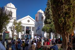 Our Lady of Candelaria Church - Humahuaca, Jujuy, Argentina. Humahuaca, Jujuy, Argentina - Apr 28, 2018: Our Lady of Candelaria Church - Humahuaca, Jujuy royalty free stock photo