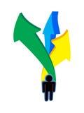 Humain avec les flèches colorées Images libres de droits