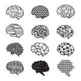 Humain Brain Designs Icon Set Photographie stock libre de droits