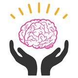 Humain Brain Knowledge Raster Icon illustration libre de droits