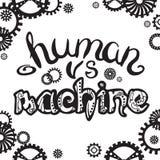 Humain contre la machine Lettrage de Steampunk Images stock