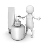 Humain 3d blanc avec les tubes cosmétiques blancs Images libres de droits