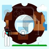 Humain d'icône et technologie de concept de symbole Photos stock