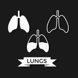 Humain Lung Icons Set Photos libres de droits