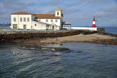 Humaita beach and lighthouse. Scenic view of Humaita beach and lighthouse, Salvador, Bahia, Brazil Stock Images