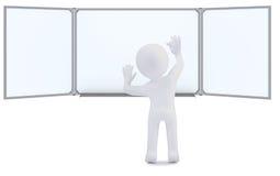 human 3d med kritawriting på whiteboarden Arkivfoton
