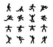 Human action poses. Running walking, jumping and. Human action poses. Running and walking, jumping and squatting, dancing, athletics, start and acceleration, jog Stock Photography
