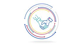 Human and ai futuristic cooperation technology vector illustration