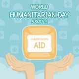 World Humanitarian Day, 19 August. Human aid parachute with human hands conceptual illustration vector Royalty Free Stock Image