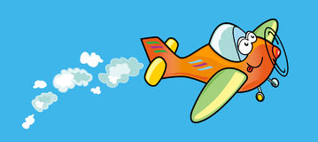 Human air. Funny illustration that depicts a plane with human face Stock Photo