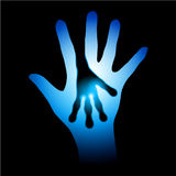 Human and Alien hands silhouette. Illustration on black background Royalty Free Stock Photography