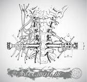 Human anatomy throat with vintage mechanism in steampunk style Royalty Free Stock Photos