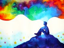 Free Human And Spirit Powerful Energy Connect To The Universe Power Abstract Art Watercolor Painting Illustration Design Hand Drawing Royalty Free Stock Images - 139049699