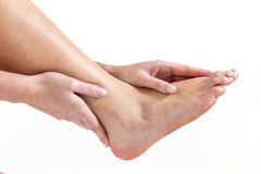 Human Ankle pain with an anatomy injury stock photos
