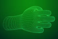 Human Arm wireframe. Human Arm. Hand Model. Connection structure. Future technology concept. Vector low poly wireframe mesh illustration Royalty Free Stock Photo