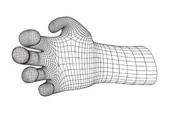Human Arm wireframe. Human Arm. Hand Model. Connection structure. Future technology concept. Vector low poly wireframe mesh illustration Stock Images