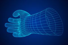 Human Arm wireframe. Human Arm. Hand Model. Connection structure. Future technology concept. Vector low poly wireframe mesh illustration Stock Photo
