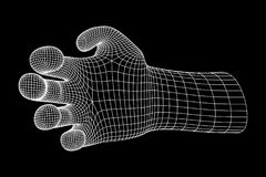 Human Arm wireframe. Human Arm. Hand Model. Connection structure. Future technology concept. Vector low poly wireframe mesh illustration Stock Photos