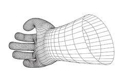 Human Arm wireframe. Human Arm. Hand Model. Connection structure. Future technology concept. Vector low poly wireframe mesh illustration Stock Image