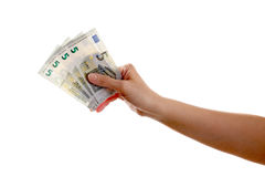 The human arm holds 5 euro banknotes Stock Photo