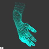 Human Arm. Human Hand Model. Hand Scanning. 3d Covering Skin.  Royalty Free Stock Photography