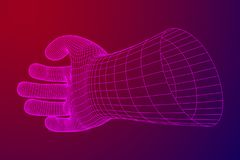 Human Arm wireframe. Human Arm. Hand Model. Connection structure. Future technology concept. Vector low poly wireframe mesh illustration Royalty Free Stock Photography