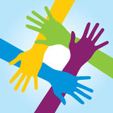 Human arms around colorful and next. Stock Photo