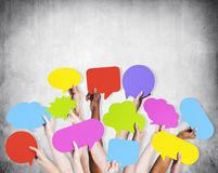 Human Arms Raised with Speech Bubble Stock Photography