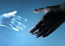 Human and artifical hand Royalty Free Stock Images