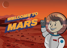 Human astronaut on Martian landscape. Welcome to Mars. Vector illustration. Stock Photography
