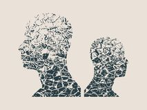 Human avatar silhouettes. Grunge style Royalty Free Stock Images