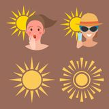 Human avatar woman degree of sunburn beach accessories summer suntan people vector illustration. Human avatar woman degree of sunburn beach accessories summer Royalty Free Stock Images