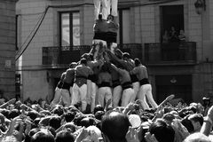 Human Base. Castel - human towers. Royalty Free Stock Photo