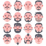 16 Human beige faces with different hairstyle and beard. Portrait of a old man vector illustration