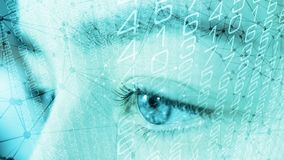 Human biometric data scanning, lines dots and random numbers. Bank security system protected by biometric data stock photography