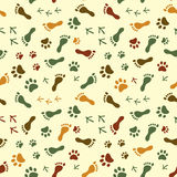 Human and bird feet, cat dog paws colorful seamless pattern, vector Royalty Free Stock Photos