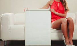 Human with blank empty white banner. Advertisement Stock Photos