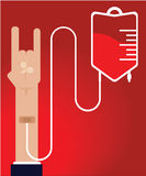 Human blood donation. Blood donation, human arm showing the rock sign Stock Photos