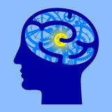 Human blue head half face with brain gears Royalty Free Stock Photo