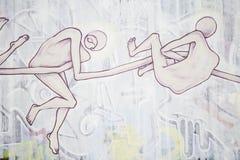 Human bodies. In urban graffiti wall royalty free stock photography
