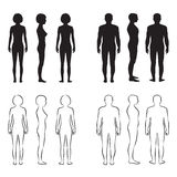 Human body anatomy,. Vector man, woman silhouette, front back side Stock Photo