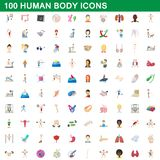 100 human body icons set, cartoon style. 100 human body icons set in cartoon style for any design illustration stock illustration