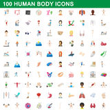 100 human body icons set, cartoon style Stock Image